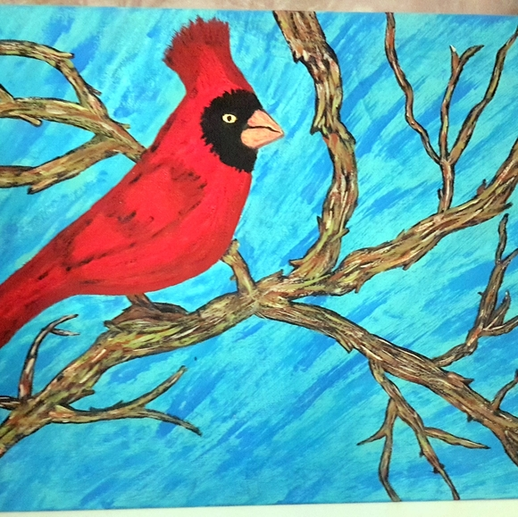 11 by 8 inches Acrylic painting of a Cardinal